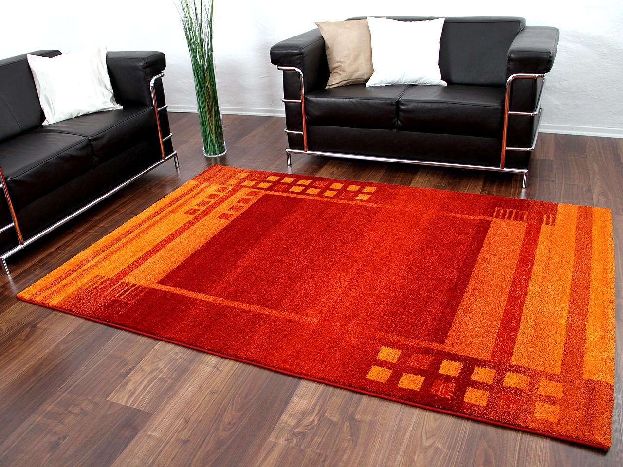 Teppich Orange Designer Teppich Gabbeh Rot Orange Bordüre
