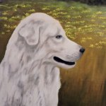 large white dog painting
