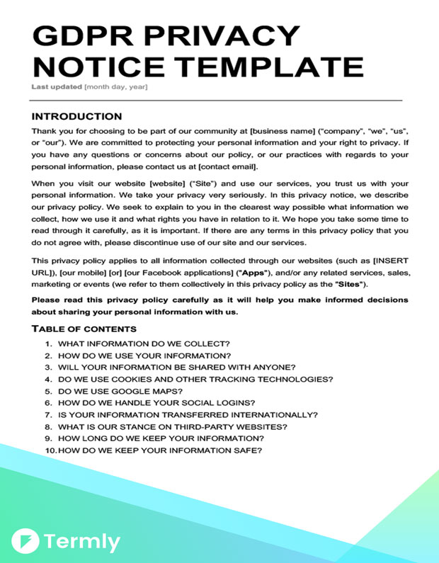 Privacy Notice Template Cvfreepro - Data protection and privacy policy template