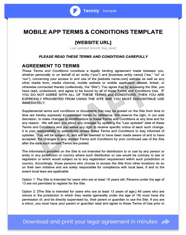 Mobile App Terms \ Conditions Template \ Writing Guide Termly - sample terms and conditions template