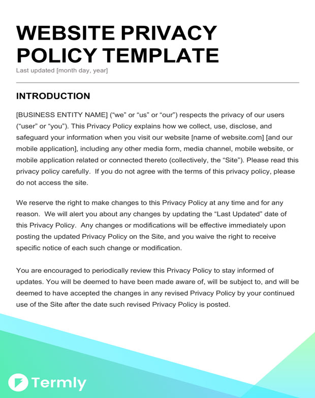 Free Privacy Policy Templates Website, Mobile, FB App Termly - privacy notice template