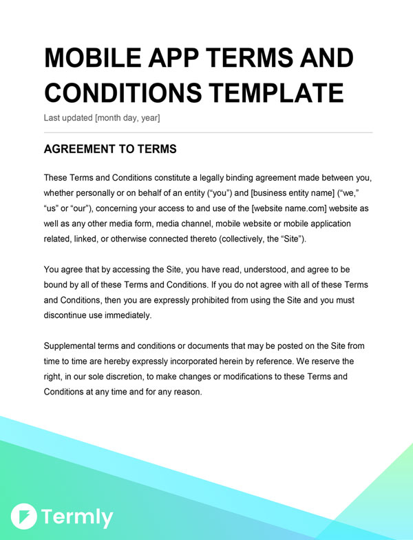 Mobile App Terms  Conditions Template  Writing Guide Termly