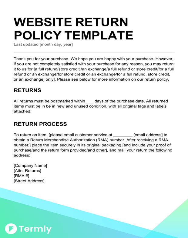 Return Policy Templates  Examples Free to Download Termly - return to vendor form template