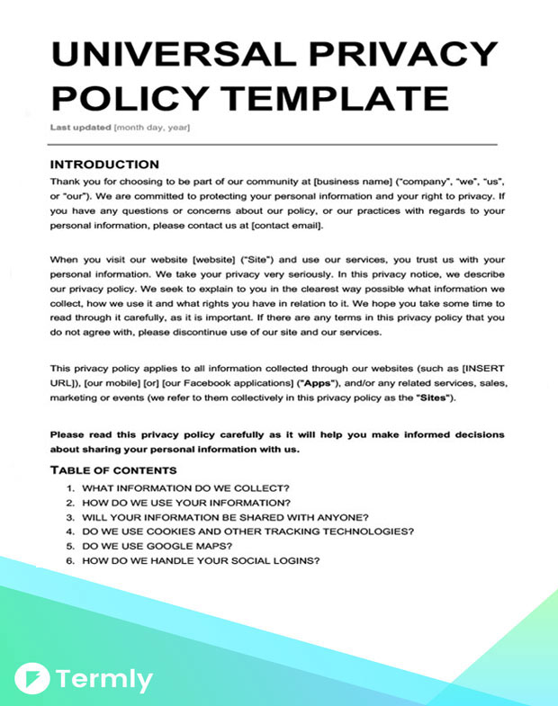 Free Privacy Policy Templates Website, Mobile, FB App Termly