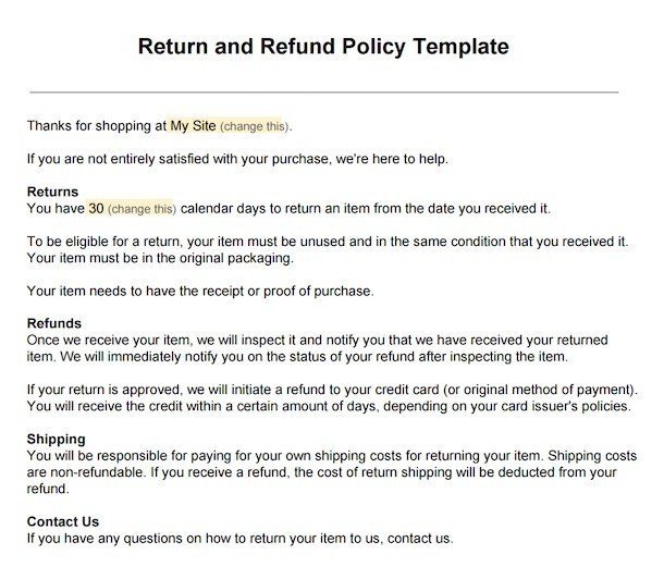 Sample Return Policy for ecommerce stores - TermsFeed - policy memo template