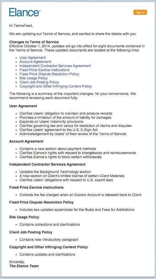 Update notice for changes in legal agreements - TermsFeed