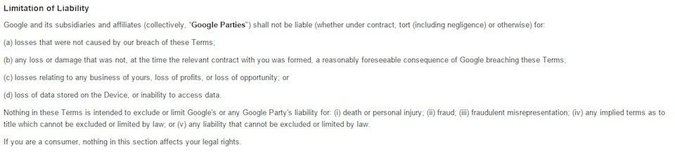 Draft Limitation or Exclusion of Liability clauses - TermsFeed