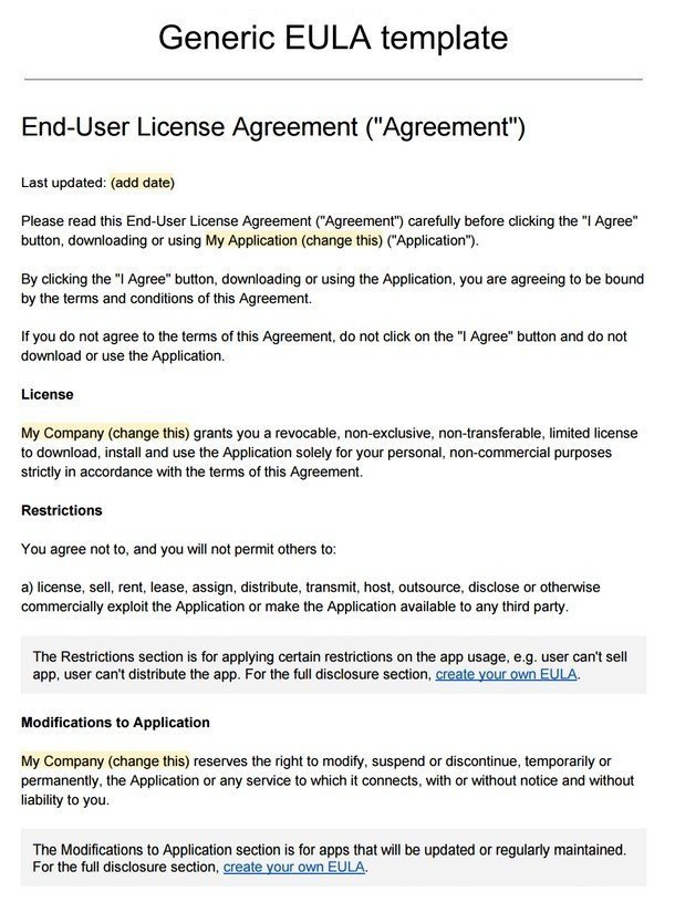 Sample EULA Template - TermsFeed - agreement