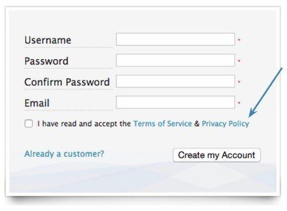 Use clickwrap on registration forms - TermsFeed - registration forms