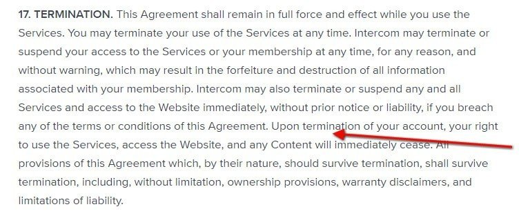 Termination clause in Terms and Conditions - TermsFeed