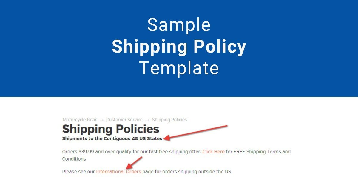 Sample Shipping Policy Template - TermsFeed - shipping form templates