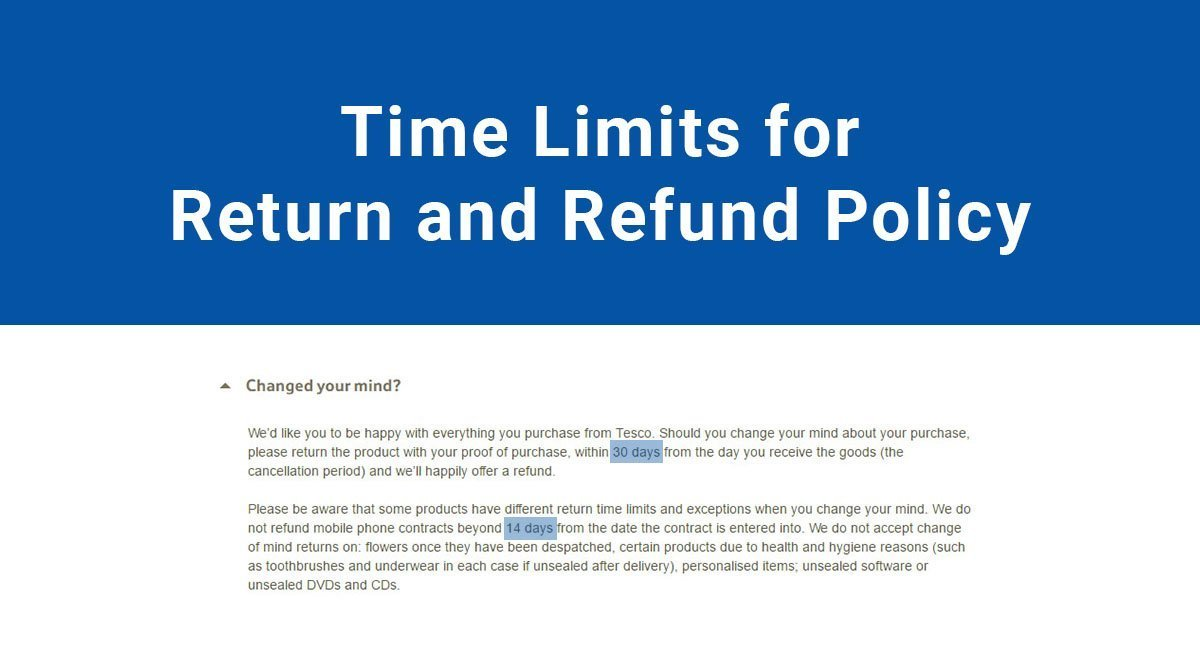 Time limits for Return  Refund Policy - TermsFeed