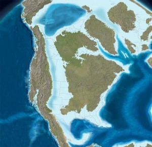 Map of Late Cretaceous coastline (85Ma). (Image from Paleogeography and Geologic Evolution of North America)