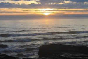 The suns sets over the Pacific Ocean in Yachats, Ore. A new panel of scientists is going to investigate the extent, causes, and effects of ocean acidification and hypoxia along the Pacific coastline. (photo: Theresa Hogue)