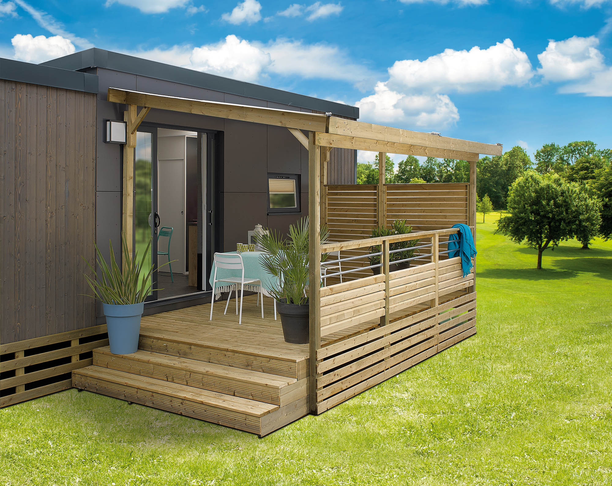 Terrasse Bois Mobil Home Terrasse En Bois Couverte Pour Mobile Home All Inclusive