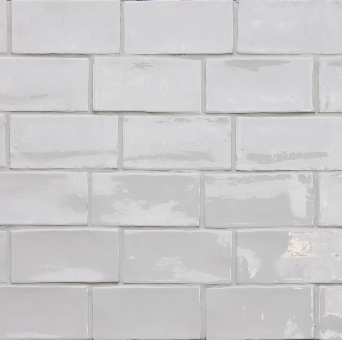 White Brick Look Tile Betonbrick Wall White Glossy 7 5x15