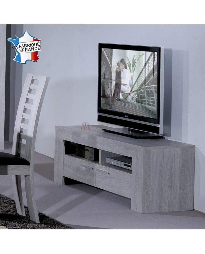 Meuble Tv En Chene Blanchi Banc Tv Design Contemporain Chêne Blanchi 2 Niches 2 Tiroirs