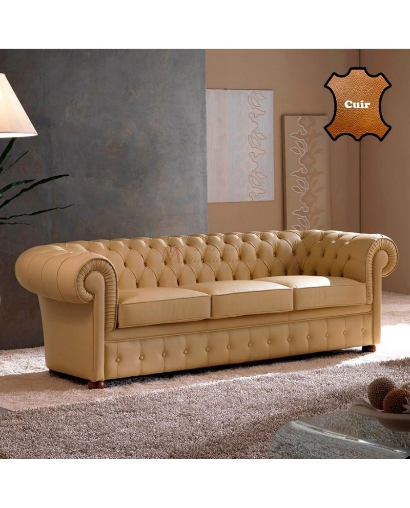 Canapé Chesterfield 2 Places Canapé Chesterfield 2 Ou 3 Places Cuir Beige Design Moderne
