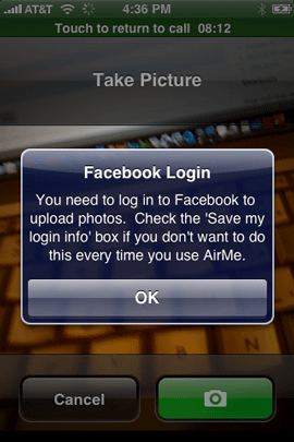 AirMe needs to remember my login info