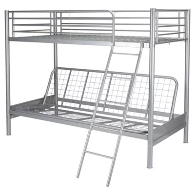 Metal Frame Bunk Bed With Futon