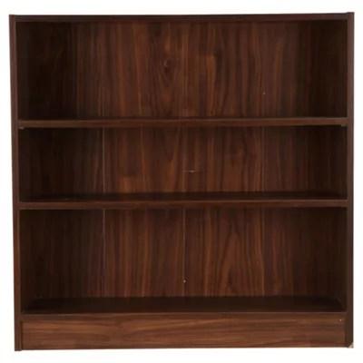 Fraser 3 Shelf Wide Bookcase Walnut Effect