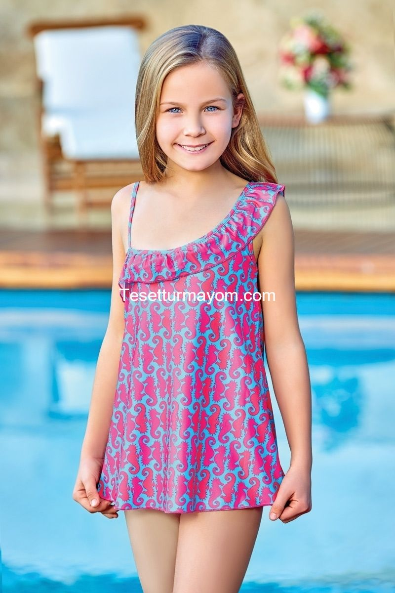 Wholesale Suits Manufacturers Adasea 5043 Kids Swimdress Turquoise Tesettür Mayom