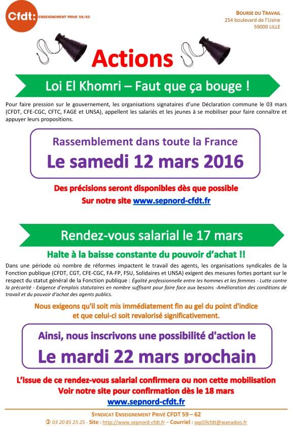 Mars 2016 el khomri et revalorisation salaires