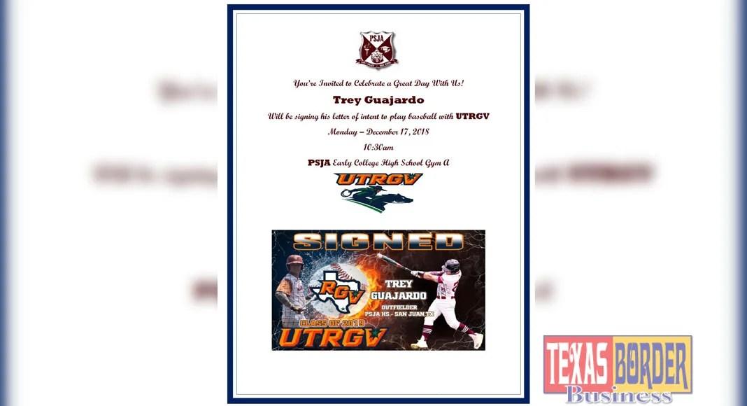 PSJA Bear Trey Guajardo signs with UTRGV Baseball - Texas Border