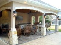 Pool House With Outdoor Kitchen & Fireplace In Cypress ...
