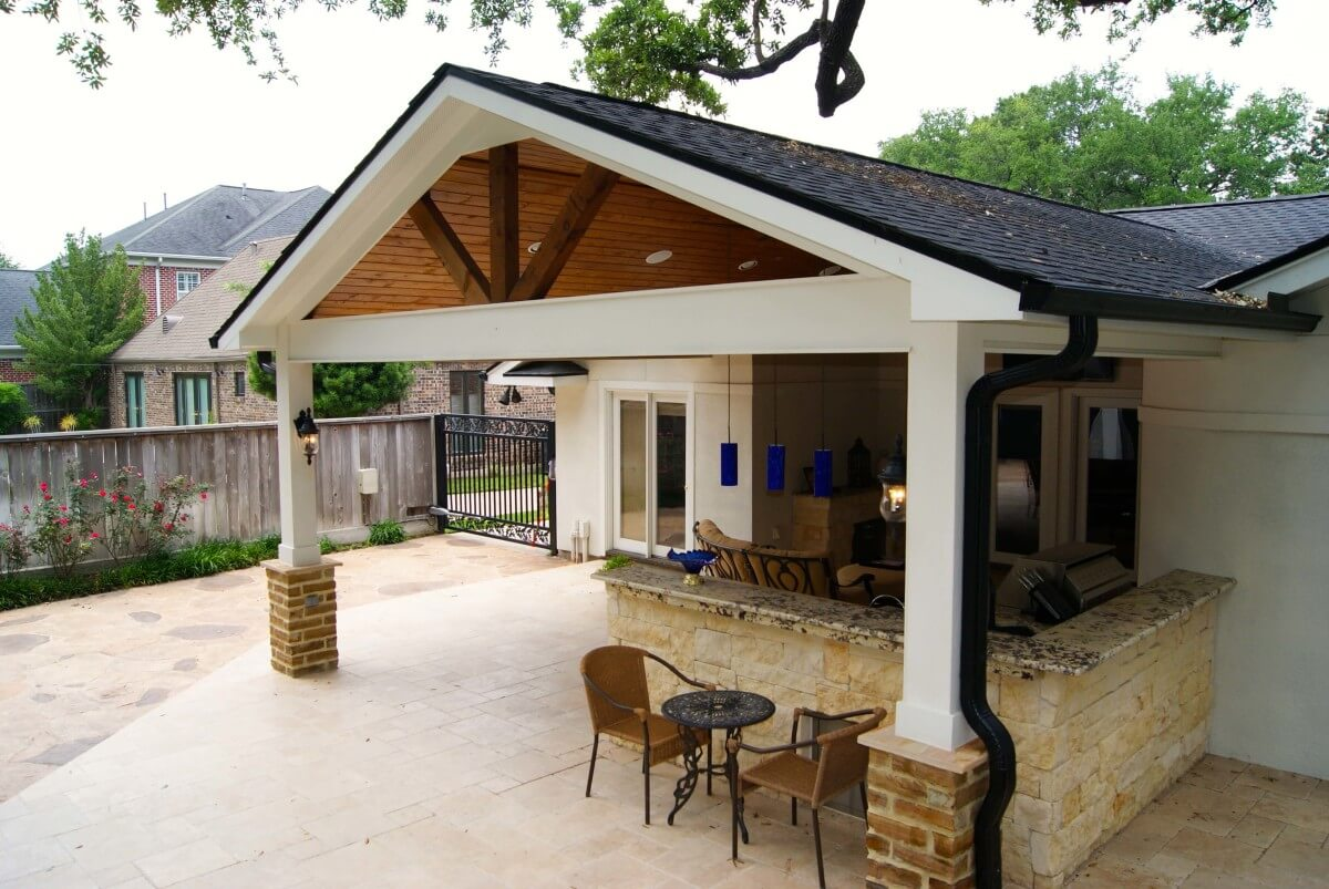 Patio Bungalow Vrijstaand Contemporary Patio Cover Kitchen And Firepit Texas