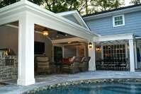 Patio Cover Built Off Garage & Outdoor Kitchen in Memorial ...