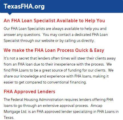 Texas FHA Loans - Best Texas FHA Lender First Time Buyer Home Loans
