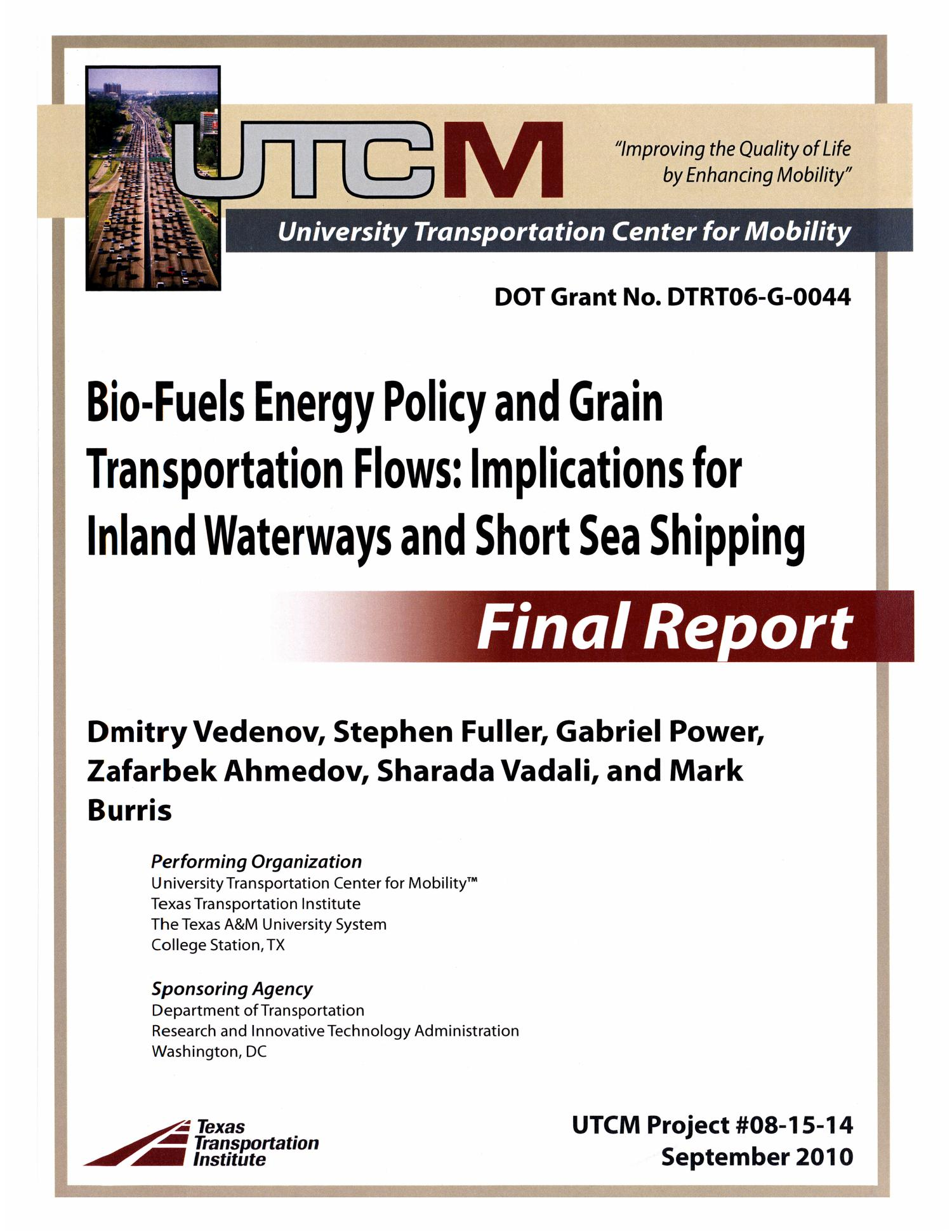 Grain Bio Biofuels Energy Policy And Grain Transportation Flows