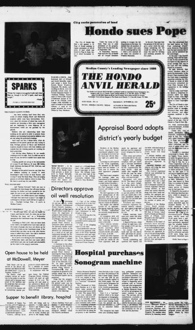 The Hondo Anvil Herald (Hondo, Tex.), Vol. 95, No. 42, Ed. 1 Thursday, October 22, 1981 - The ...