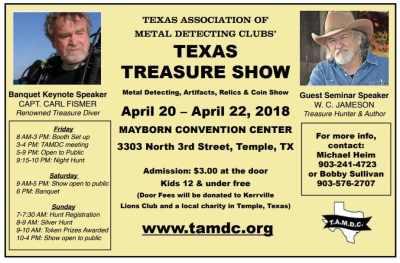 Texas Treasure Show April 20-22, 2018 - Texas Premium Detectors