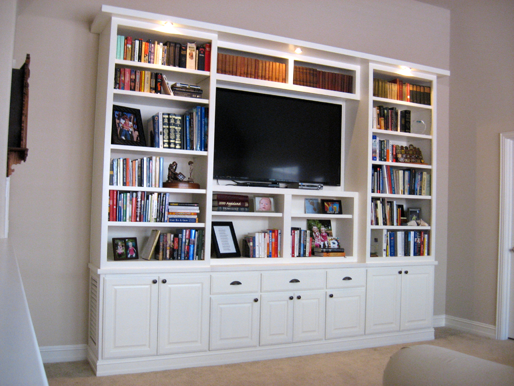 White Bookcase With Doors White Media Center