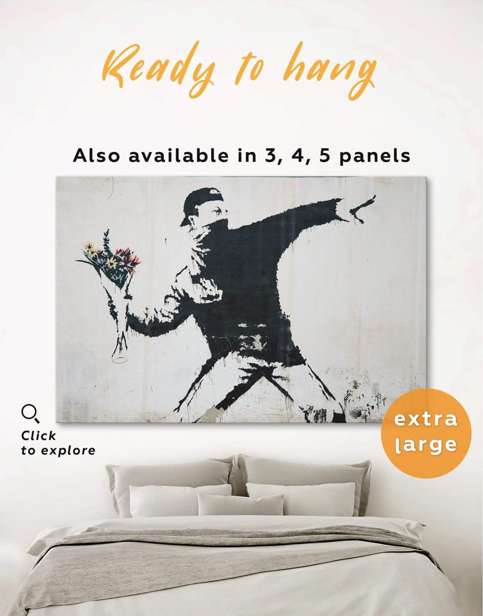 Rage Flower Thrower Banksy Canvas Wall Art Texelprintart