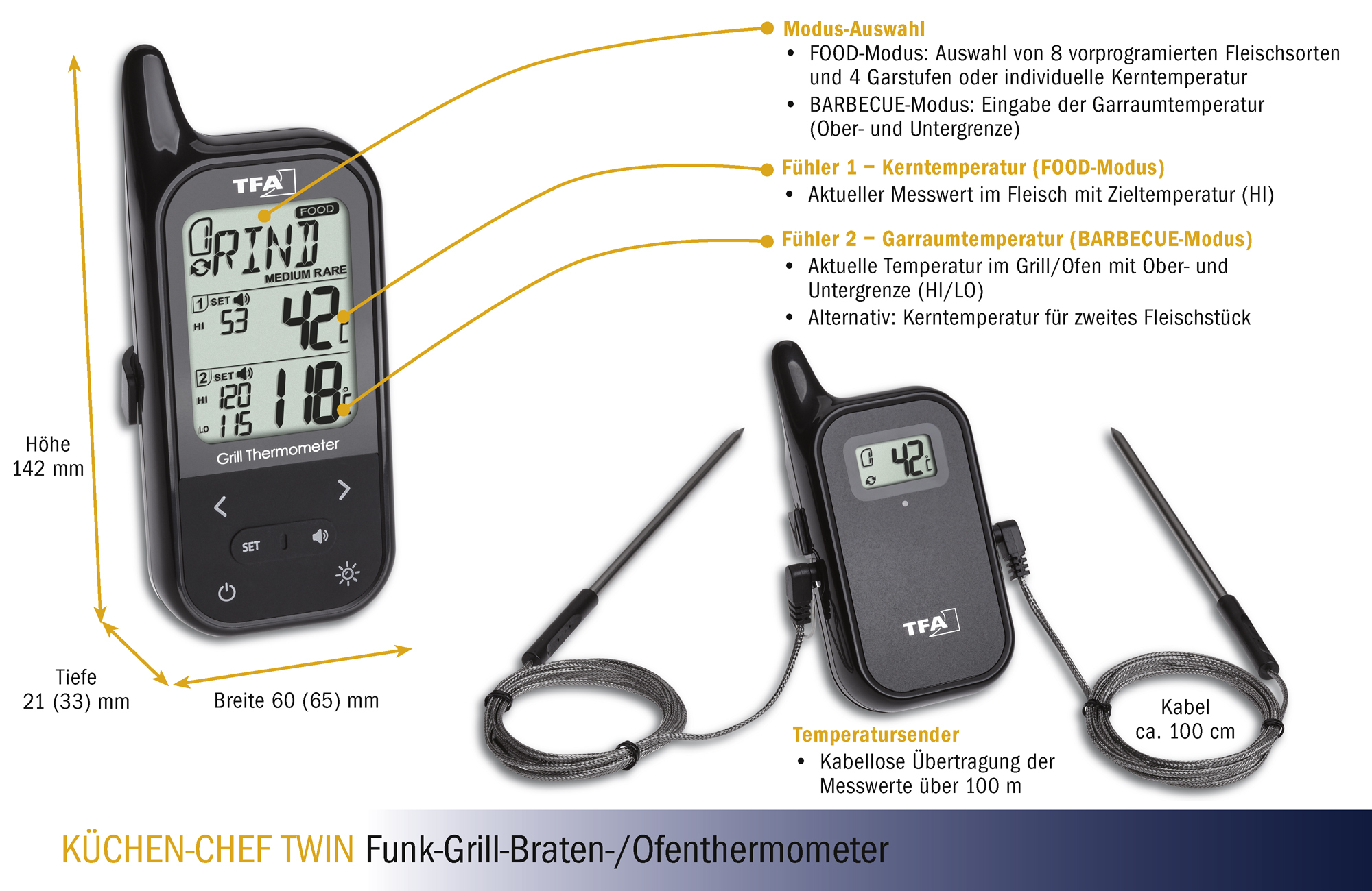 Modus Küchen Wireless Bbq Meat Oven Thermometer KÜchen Chef Twin Tfa Dostmann