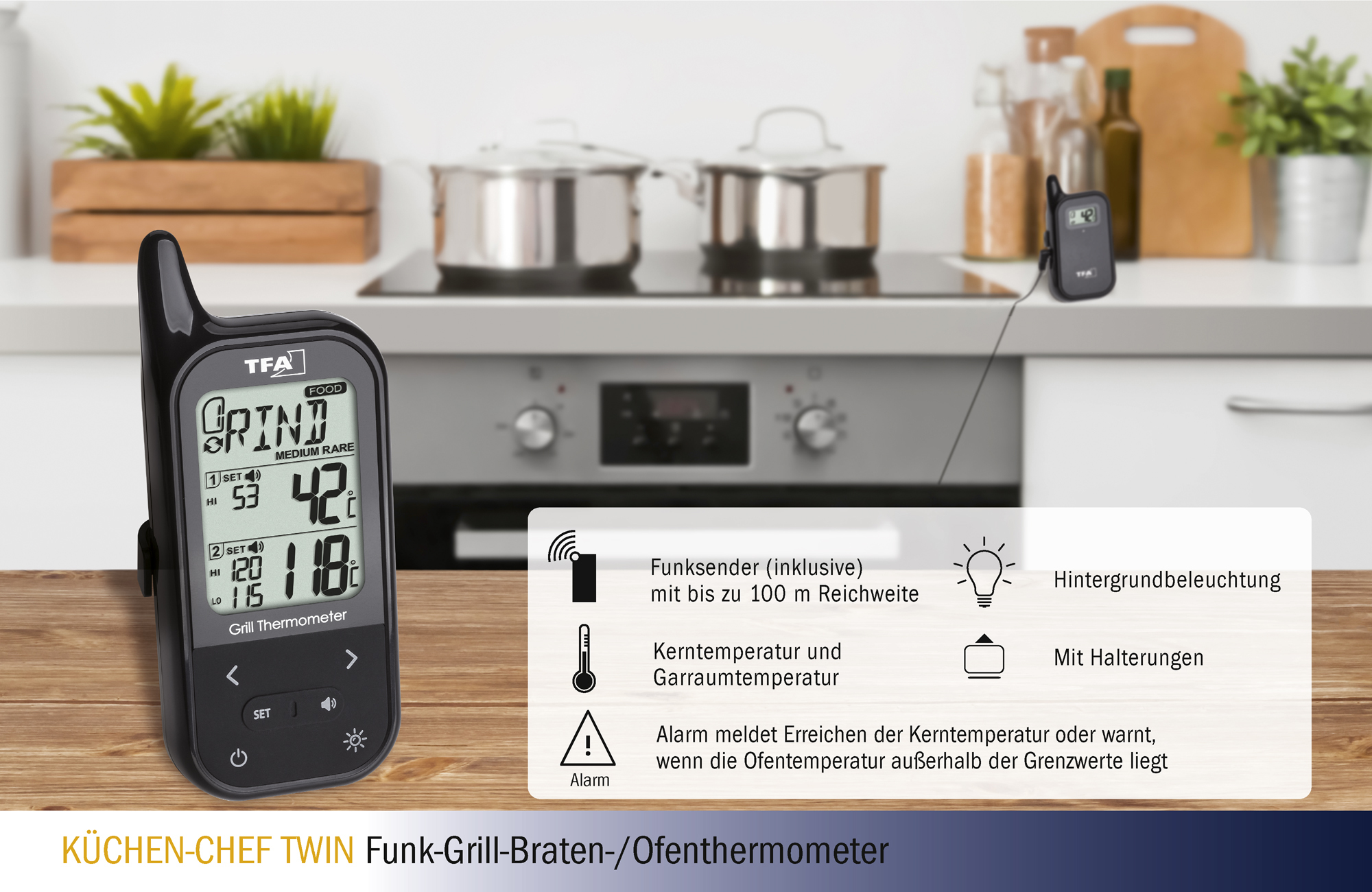 Küchenchef Thermometer Wireless Bbq Meat Oven Thermometer KÜchen Chef Twin Tfa