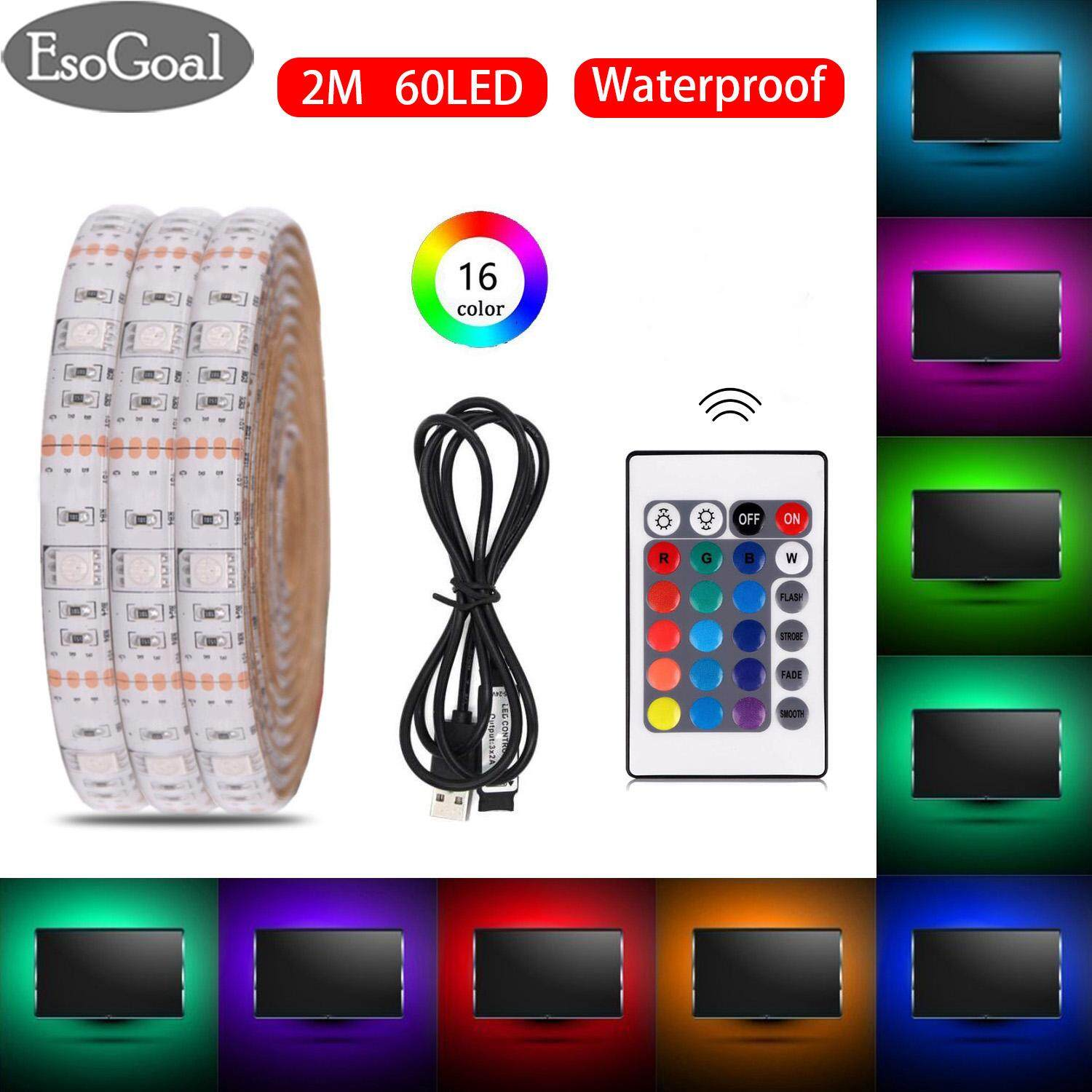 Led Lighting Prices Esogoal Usb Led Strip Light Rgb Waterproof Portable 5050 2m Led Tv Backlight Ip65 60leds Usb Powered Strip With 24keys Remote Controller