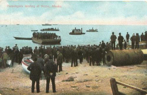 Passengers landing at Nome, Alaska, circa 1900. This image was found online at www.arcticwebsite.com/