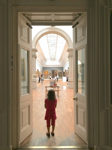 Peeking into the gallery.