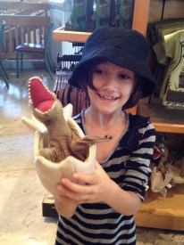 It's a dinosaur hatching from an egg puppet - she loved it.