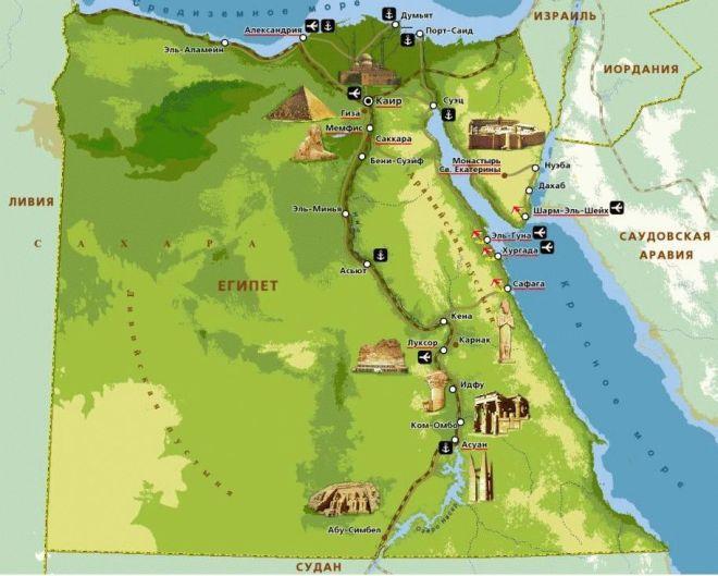 Курорты и достопримечательности Египта на карте