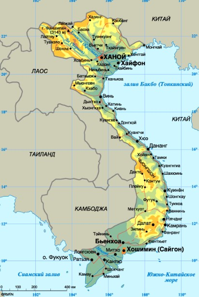 Какое море во Вьетнаме - карта