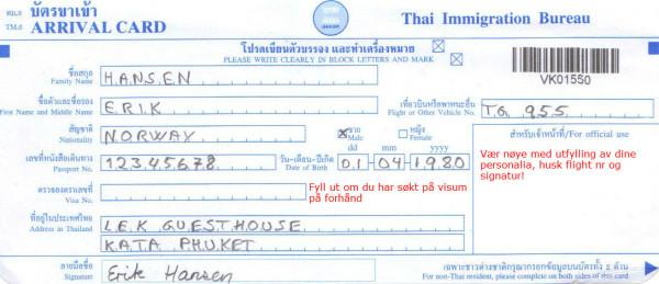 Ankomstkort Thailand e1388639009822 Slik fyller du ut ankomst og avreisekort
