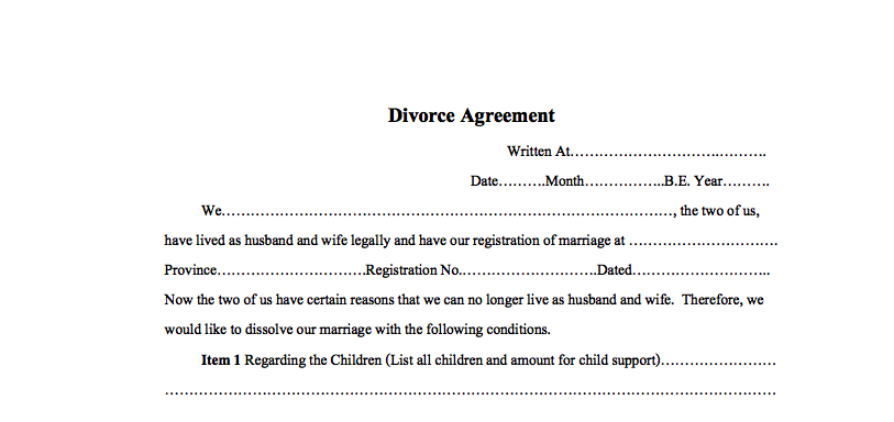 Simple divorce agreement for Thailand - Thai / English - Example