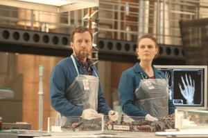 "BONES:  L-R:  TJ Thyne and Emily Deschanel in the ""The Brother in the Basement"" episode of BONES airing Thursday, Oct. 8 (8:00-9:00 PM ET/PT) on FOX.  ©2015 Fox Broadcasting Co.  Cr:  Patrick McElhenney/FOX"