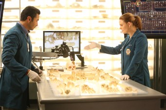 "BONES: L-R: Guest star Pej Vahdat and Emily Deschanel in the ""The Brother in the Basement"" episode of BONES airing Thursday, Oct. 8 (8:00-9:00 PM ET/PT) on FOX. ©2015 Fox Broadcasting Co. Cr: Kevin Estrada/FOX"