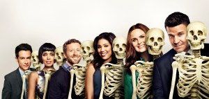 BONES: Cast L-R: John Boyd, TJ Thyne, Tamara Taylor, Michaela Conlin, Emily Deschanel and David Boreanaz. The 11th season of BONES premieres Thursday, Oct. 1 (8:00-9:00 PM ET/PT) on FOX. ©2014 Fox Broadcasting Co. Cr: FOX